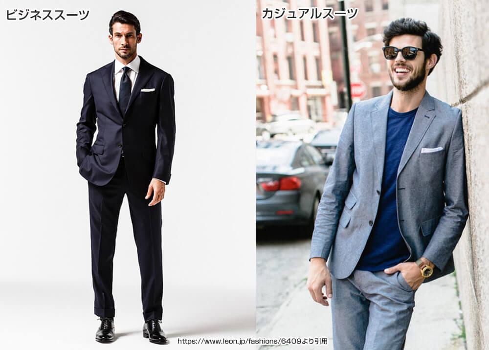 ビジネススーツとカジュアルスーツの参考写真